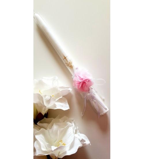 Krikšto žvakė su papuošimu 38 cm. Spalva balta / rožinis