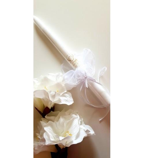 Krikšto žvakė su sijonėliu 38 cm. Spalva balta / auksinis angeliukas