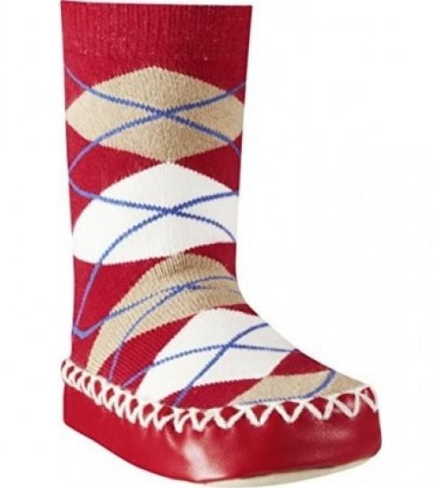 Playshoes kojinės su neslidžiu paduku. Spalva raudona su rombais