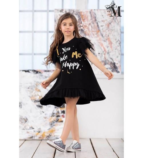 MałaMi suknelė su printu. Spalva Juoda
