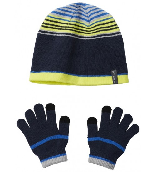 Columbia pirštinių ir kepurės komplektukas. Spalva mėlyna dryžuota / geltona
