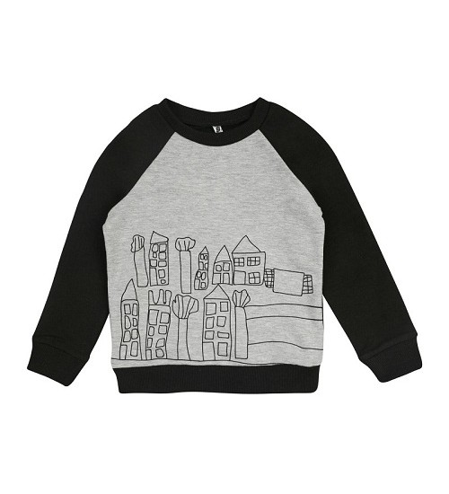 Garnamama džemperiukas - megztukas berniukams. Spalva pilka / juoda