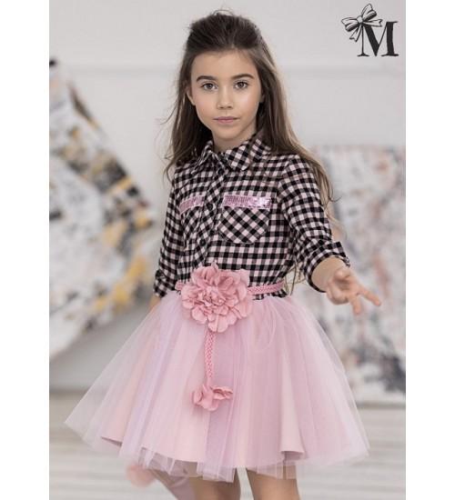 MałaMi suknelė su pustu sijonuku ir languotais marškinėliais