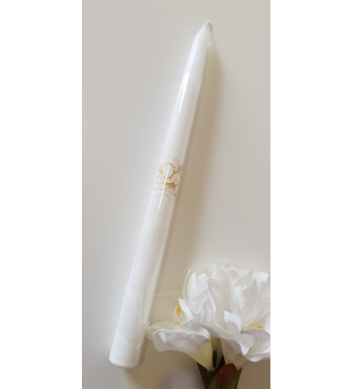 Krikšto žvakė 38 cm. Spalva balta / auksinis angelas