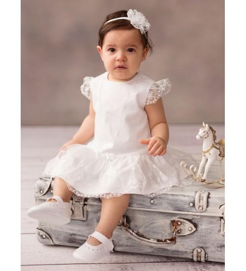 Balumi suknelė Antonina 68-86cm. Spalva balta