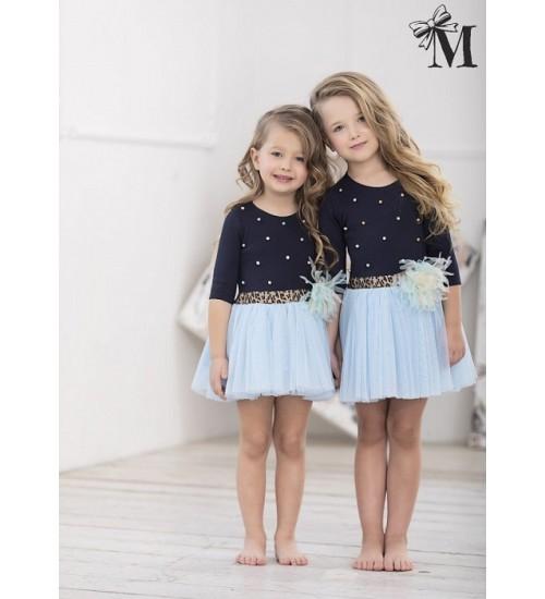 MałaMi suknelė mėlyna su pustu sijonuku