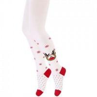 Wola kalėdinės pėdkelnės mergaitėms. Spalva balta / raudona su elniuku