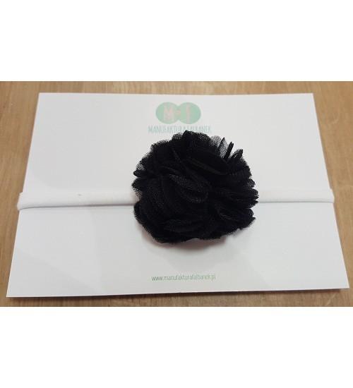 Manufaktura Falbanek galvos juostelė su pomponu. Spalva juoda