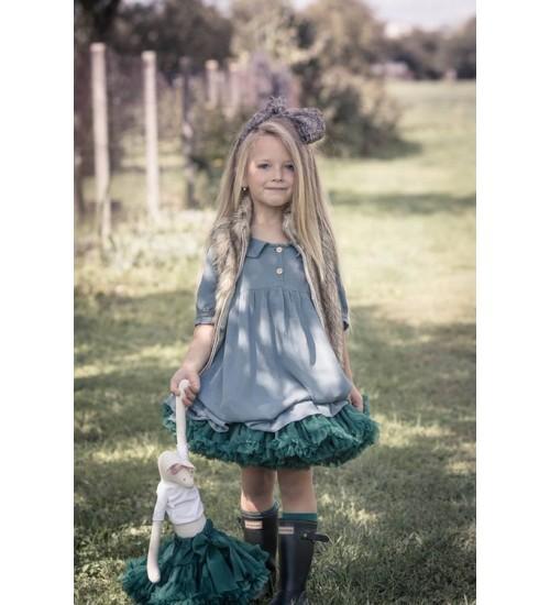 Manufaktura Falbanek tiulio sijonas. Spalva tamsiai žalia