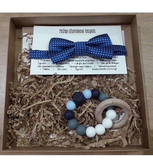 Šponkės rinkinys Džentelmenui. Čiulptuko kramtukas ir mėlyna peteliškė