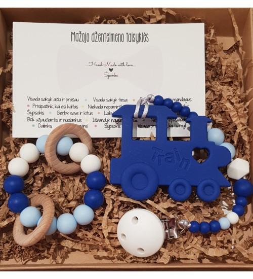 Šponkės rinkinys Džentelmenui. Čiulptuko laikiklis su kramtuku (traukinukas) + kramtukas apyrankė
