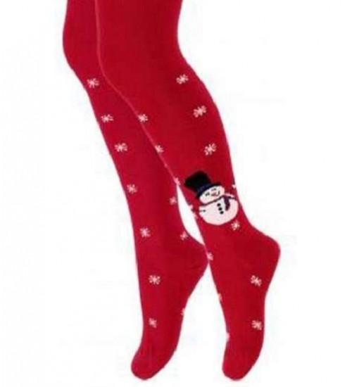Wola kalėdinės pėdkelnės mergaitėms. Spalva raudona su seniu besmegeniu