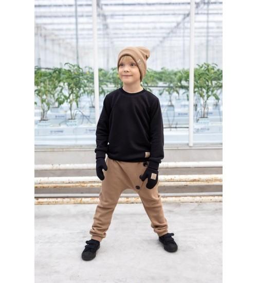 Tuss vaikiškos kelnės su sagomis. Spalva ruda