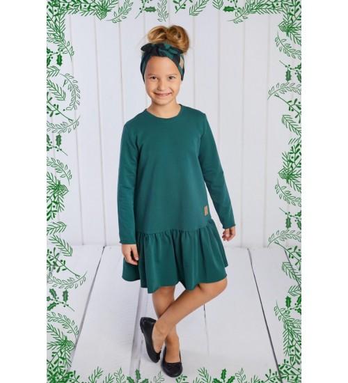 Tuss vaikiška suknelė. Spalva žalia