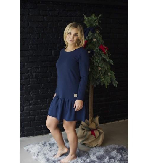 Tuss moteriška suknelė. Spalva tamsiai mėlyna