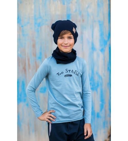 Tuss vaikiškas komplektukas (kepuraitė+šalikėlis). Spalva tamsiai mėlyna